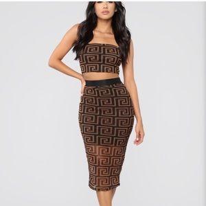 Brown skirt set